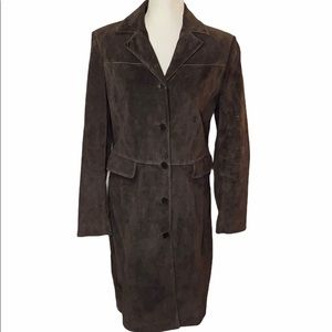 Ann Taylor full length Brown suede/Leather Coat